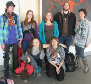 The Kamloops printmaking crew at the airport on their way to Printopolis